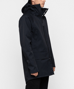 Best outerwear sustainable waterproof black jacket with hood for men
