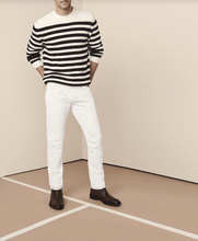 Load image into Gallery viewer, man wearing sand colour denim jeans and stripe sweater