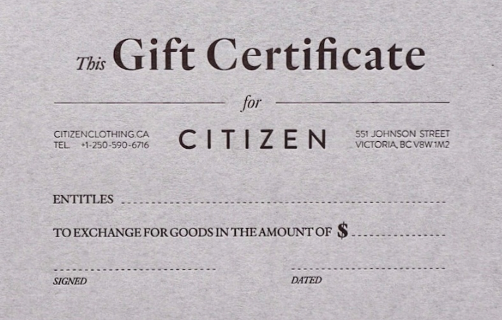 a picture of a gift card for Citizen clothing