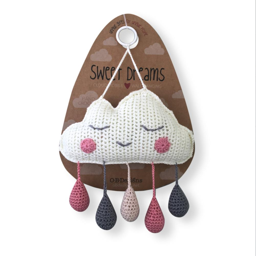 O.B. Designs Cloud Mobile Wall Hanging- Pink/Grey