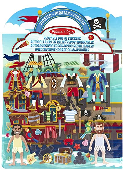 Melissa & Doug Reusable Puffy Stickers- Pirate