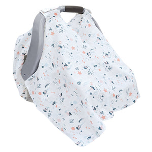 Car Seat Canopy Cotton Muslin - Mermaids