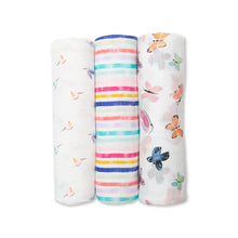 Load image into Gallery viewer, Lulujo Bamboo Muslin Swaddle 3 Pack - Garden Friends