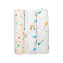 Load image into Gallery viewer, Lulujo Bamboo Muslin Swaddle 3 Pack - High in the Sky