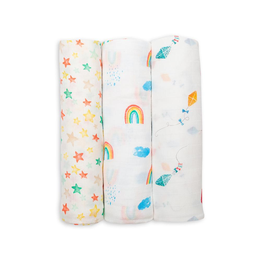 Lulujo Bamboo Muslin Swaddle 3 Pack - High in the Sky