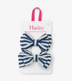 Navy Stripe Bows Hair Clips