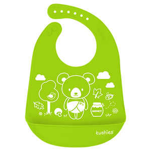 Silicatch Bib - Baby Bear - Citrus