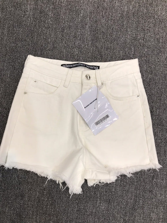 Wang distressed finish high rise white denim shorts