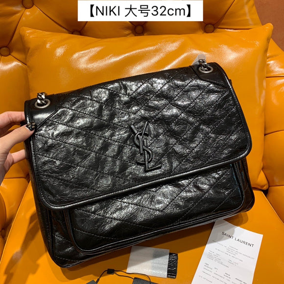 Yves niki large black crinkled calf skin black crossbody/shoulder bag