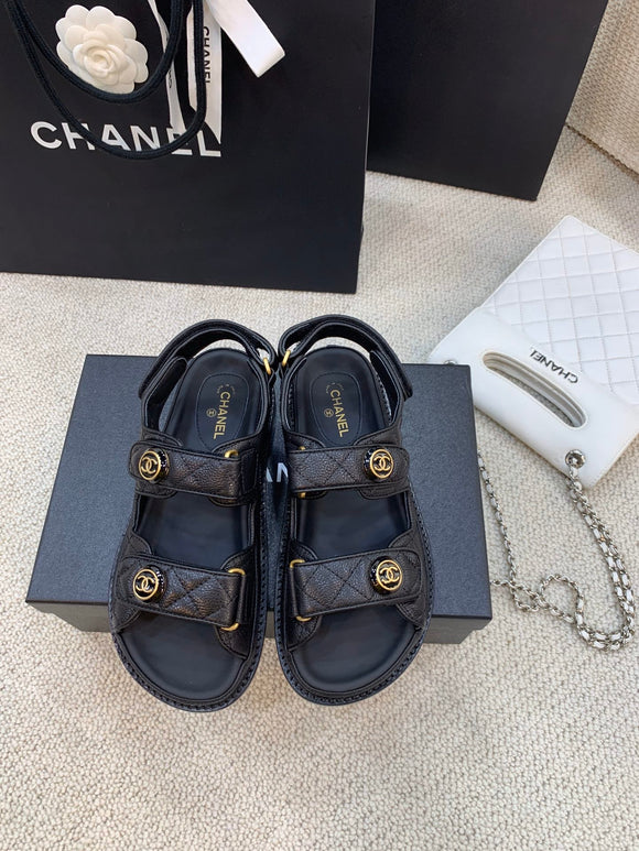 Double C black quilted caviar sandals