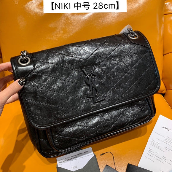 Yves niki medium black crinkled calf skin black crossbody/shoulder bag