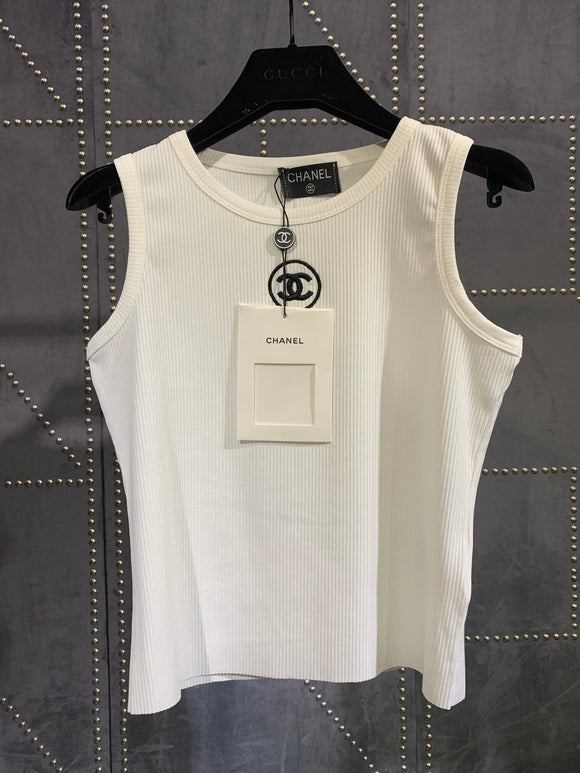 Double C ribbed fitted logo tank top