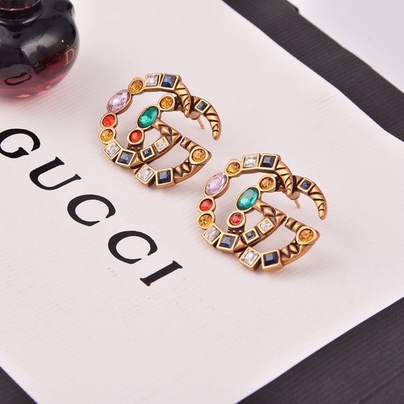 GG Crystal embellished antiqued earrings