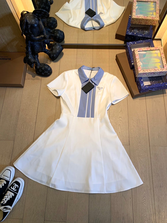 Prada collared striped white fitted dress