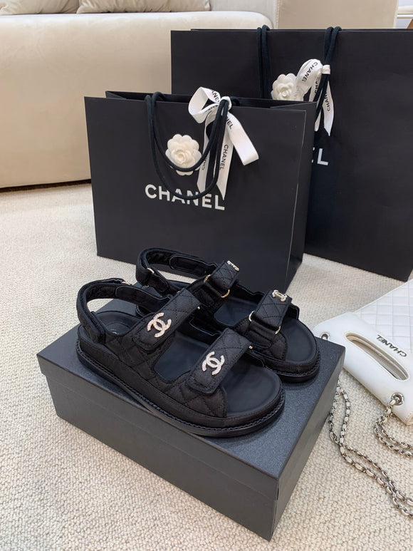 Double C black quilted caviar sandals SHW