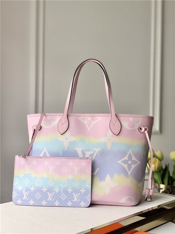 Trendy escale pastel designer genuine leather MM style tote bag