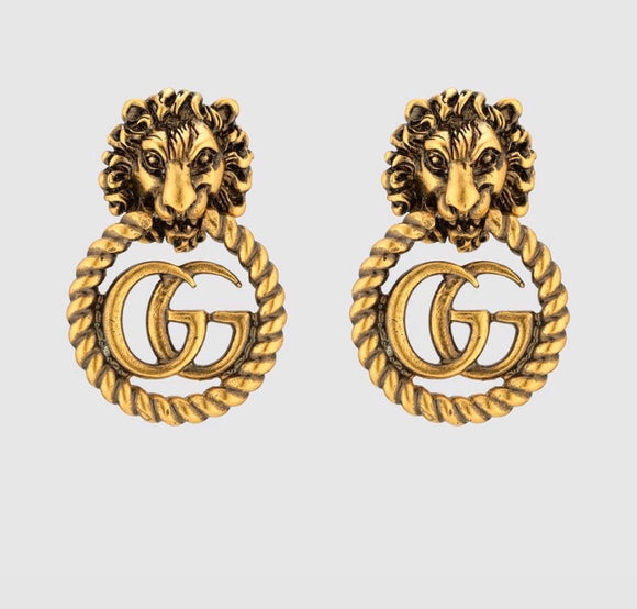 GG lion antique bronze earrings