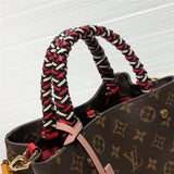 Trendy braided top handle Montaigne style crossbody shoulder bag