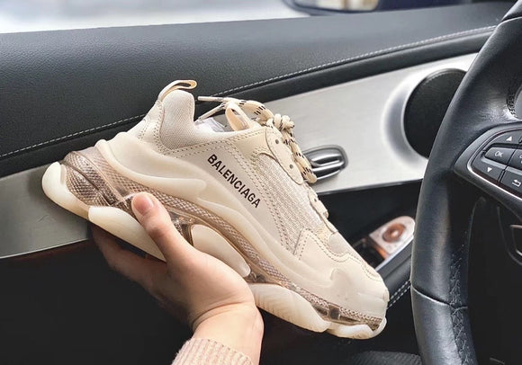 triple s clear sole beige