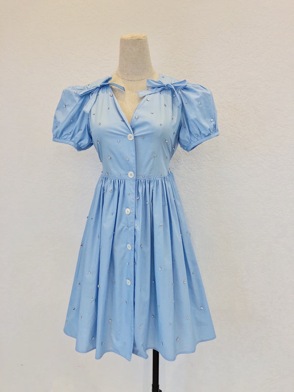 sky blue miu embellished puff sleeve dress