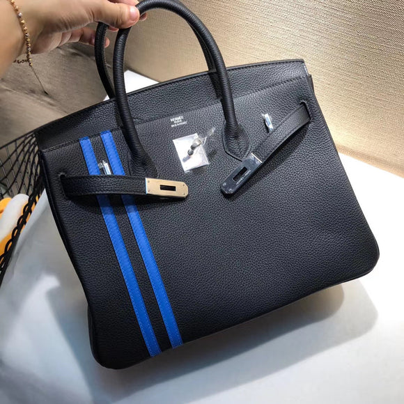 30cm stripe top handle bag