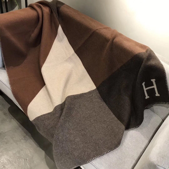 The neutrals Classic H reversible colorblock throw/blanket