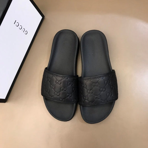 all black G sandals/slides