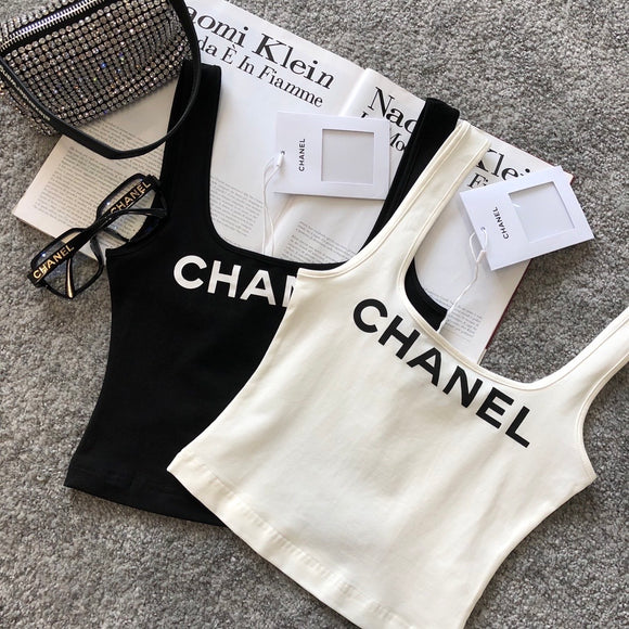 Double C cropped logo tank top