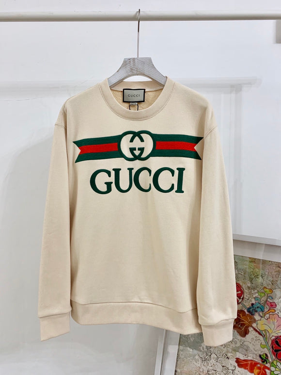 Tan/off white embroidered crewneck sweatshirt