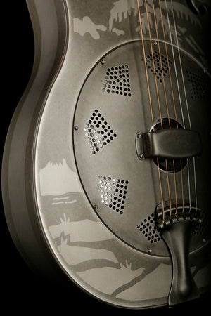 National Style O Weathered Steel Resonator Acoustic Electric Guitar