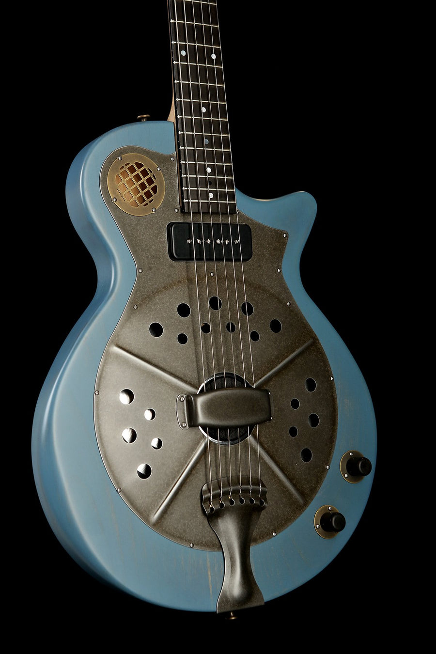 National Pioneer RP2 'Translucent Blue' Resonator Acoustic Electric Guitar
