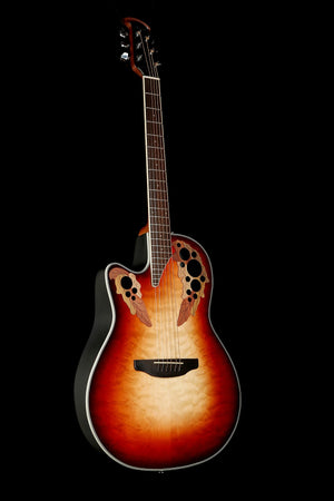 Ovation Celebrity Elite Exotic Left Hand Ruby Red / Natural Burst Acoustic Electric Guitar