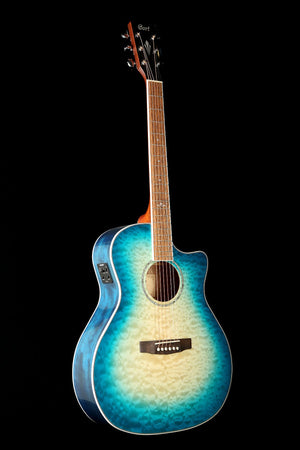Cort GA-QF Grand Regal 'Coral Blue' Acoustic Electric Guitar