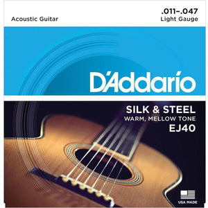 D'Addario EJ40 Silk & Steel Acoustic Guitar Strings - .0115 - .047