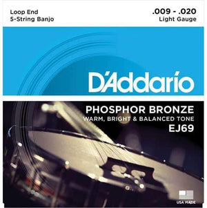 D'Addario EJ69 Phosphor 5-String Loop End Banjo Strings