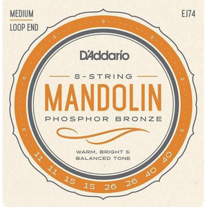 D'Addario EJ74 Phosphor Bronze Loop End Mandolin Strings - Medium .011 - .040 - acousticcentre