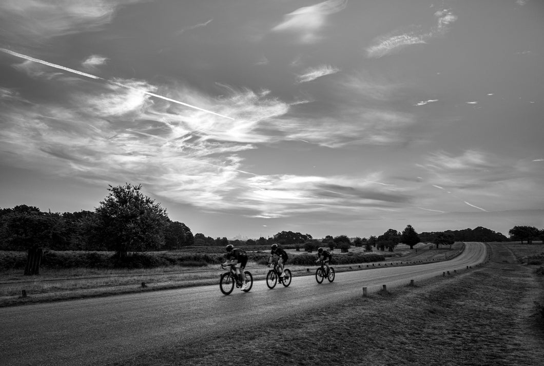 Three Cyclists, 6am Sawyers Hill
