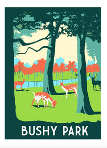 Bushy Park Screen Print, A3 Art Illustration