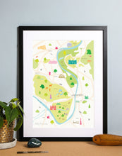 Load image into Gallery viewer, Map of Hampton Court Art Print Black Frame