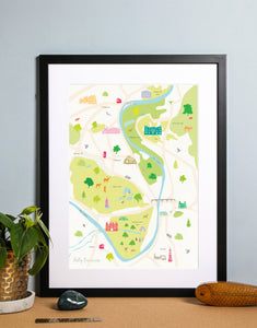 Map of Hampton Court Art Print Black Frame
