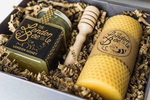 Medium Beeswax Candle and London Honey Gift Box
