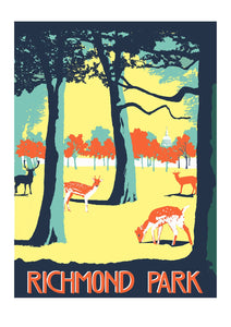 Richmond Park Screen Print, A3 Art Illustration