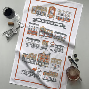 Richmond Pubs Illustrated Tea Towel