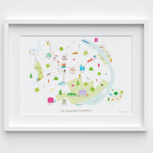 St Margarets Map Art Print