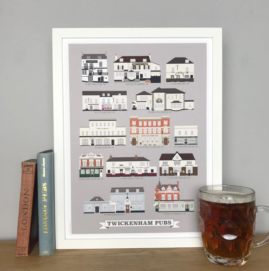 Twickenham Pubs Illustrated Print