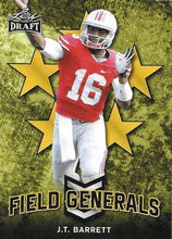 Load image into Gallery viewer, 2018 Leaf Draft Football Cards - Field Generals Gold: #FG-02 J.T. Barrett