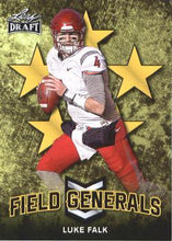 Load image into Gallery viewer, 2018 Leaf Draft Football Cards - Field Generals Gold: #FG-06 Luke Falk