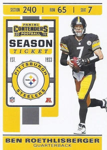 2019 Panini Contenders Base Veteran Cards #1-100 - Pick Your Cards: #21 Ben Roethlisberger