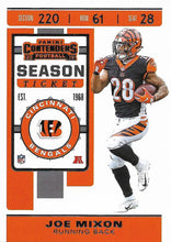Load image into Gallery viewer, 2019 Panini Contenders Base Veteran Cards #1-100 - Pick Your Cards: #25 Joe Mixon