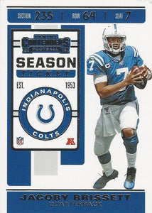 2019 Panini Contenders Base Veteran Cards #1-100 - Pick Your Cards: #30 Jacoby Brissett